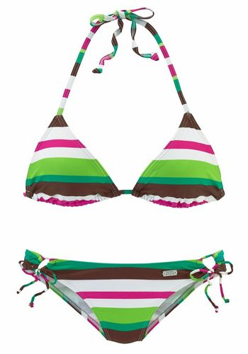 Damen Buffalo Triangel-Bikini im Streifendesign grün | 04893865224621