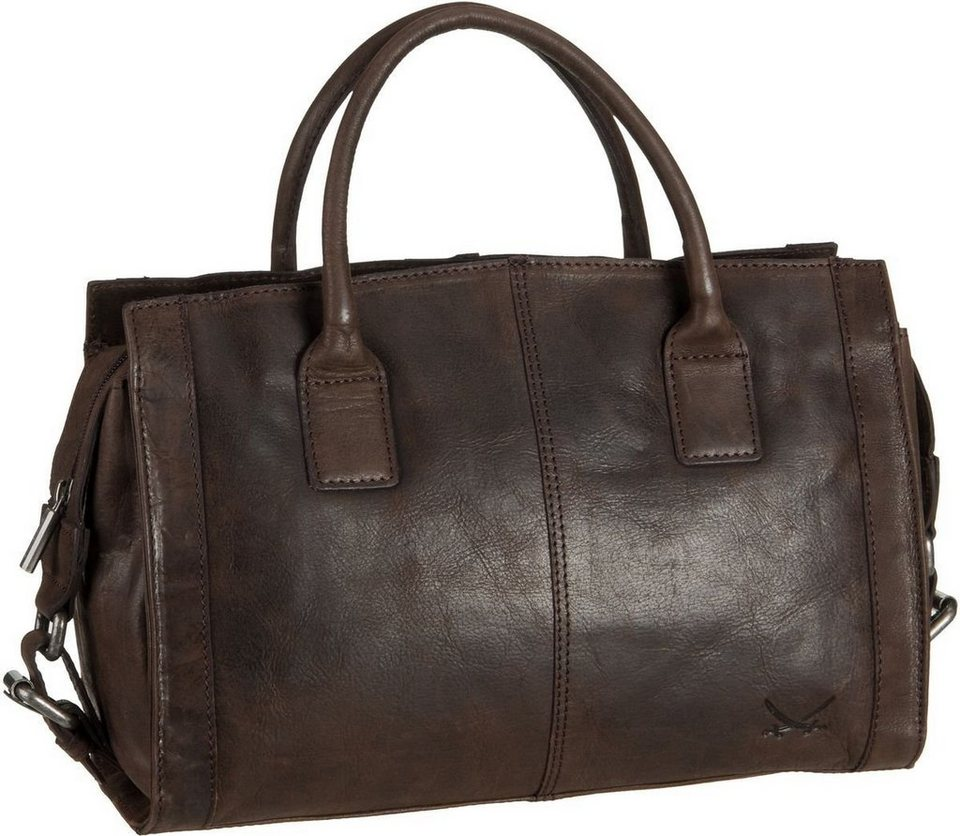 SANSIBAR Saturnus 1123 Zip Bag in Dark Brown