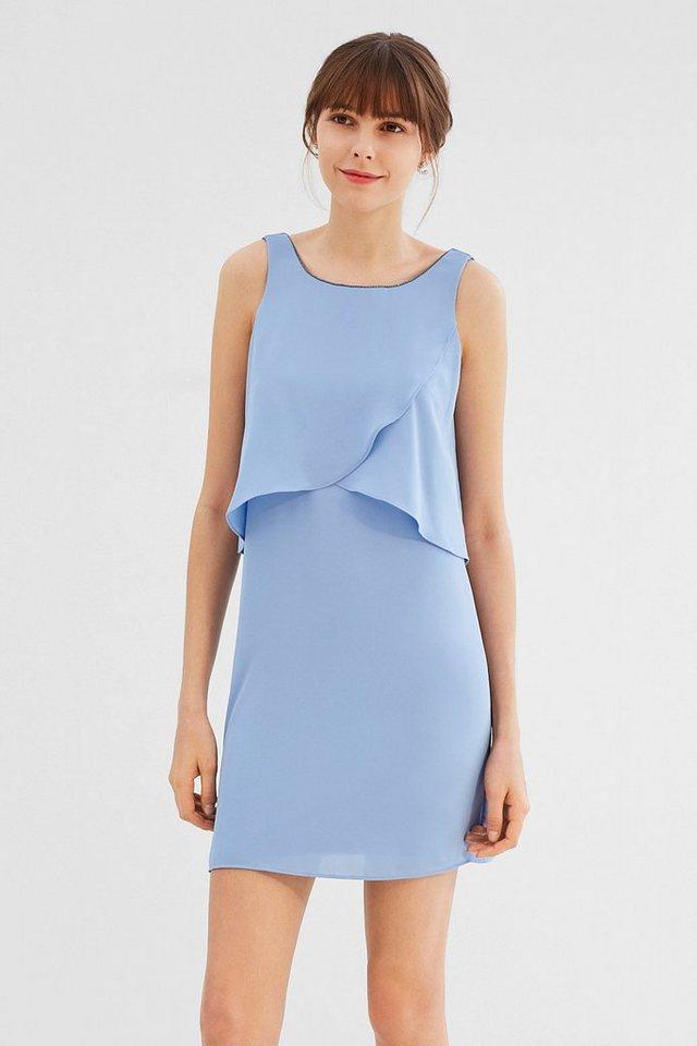 ESPRIT COLLECTION Chiffon-Kleid mit Perlchen-Ausschnitt ...