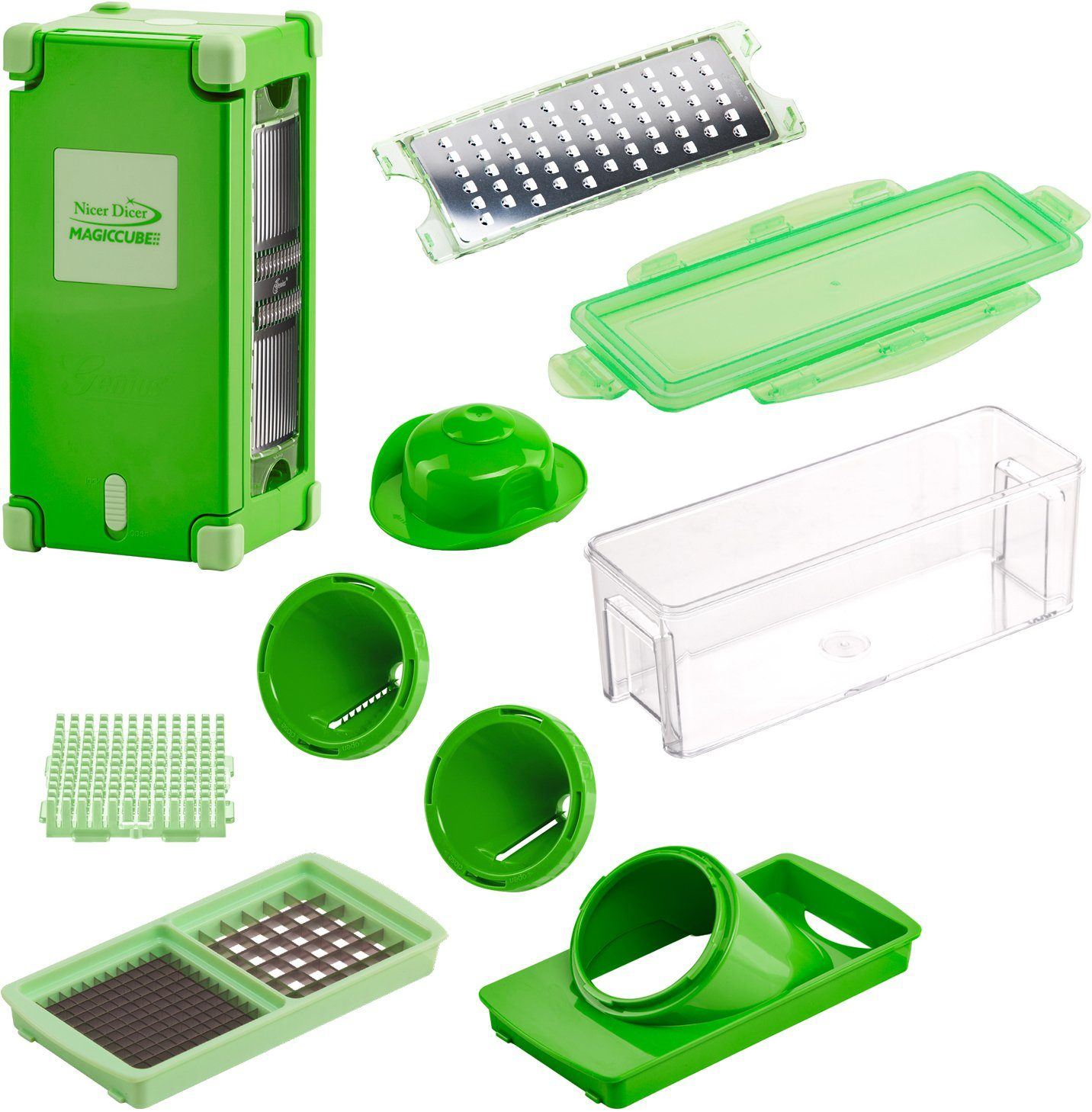 Genius Nicer Dicer Magic Cube, 12-teilig, inkl. Nicer Julietti Spiralschneider, 1200 ml