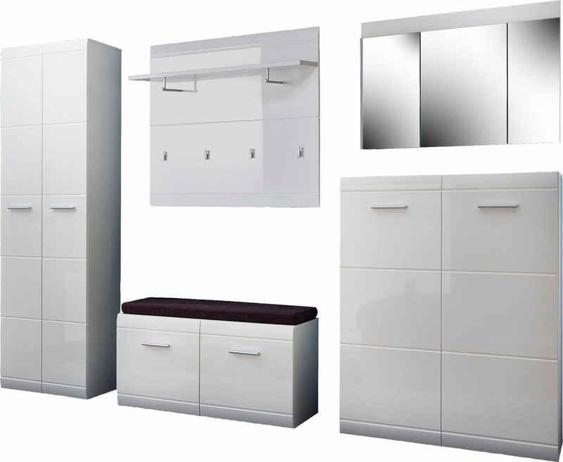 GERMANIA Garderoben-Set »Adana«, (Set, 6-St), Farbe weiß mit Hochglanz Fronten
