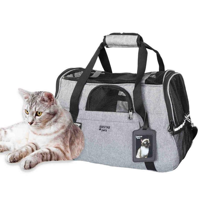 Abistab Pets Tiertransporttasche »faltbar Transportbox für Katze und kleine Hunde« bis 5,00 kg, für Auto- und Flugreisen mit ID-Tag und zusätzlichen Tragegurten