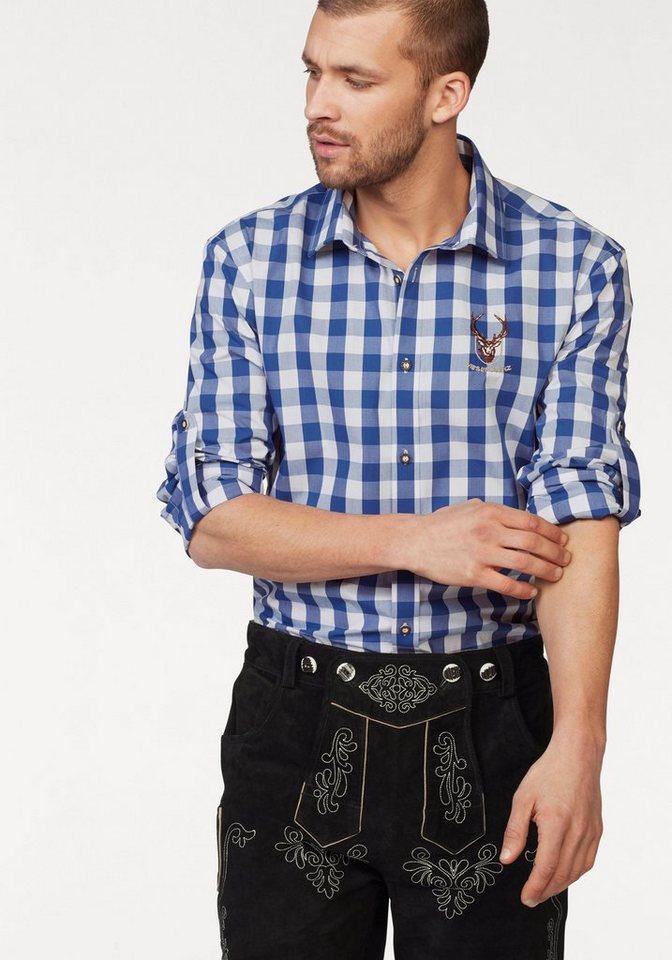 Wiesenprinz Trachtenhemd krempelbar in royalblau-weiß-kariert