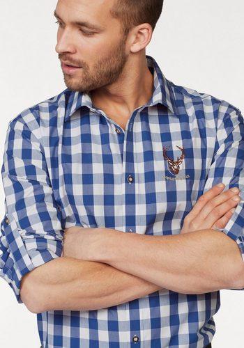 - Herren Wiesenprinz Trachtenhemd krempelbar blau   06923933692330