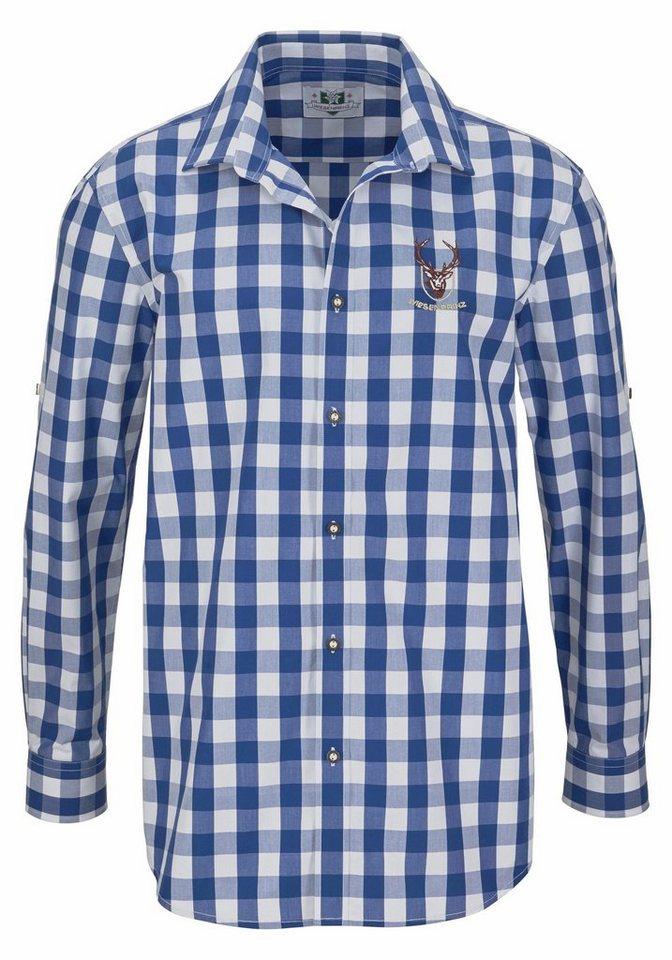 Herren Wiesenprinz Trachtenhemd krempelbar blau | 01111111111116