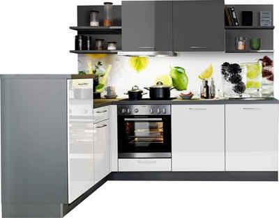Express Küchen Winkelküche »Jena«, mit E-Geräten, vormontiert, mit Soft-Close-Funktion, Stellbreite 245 x 175 cm
