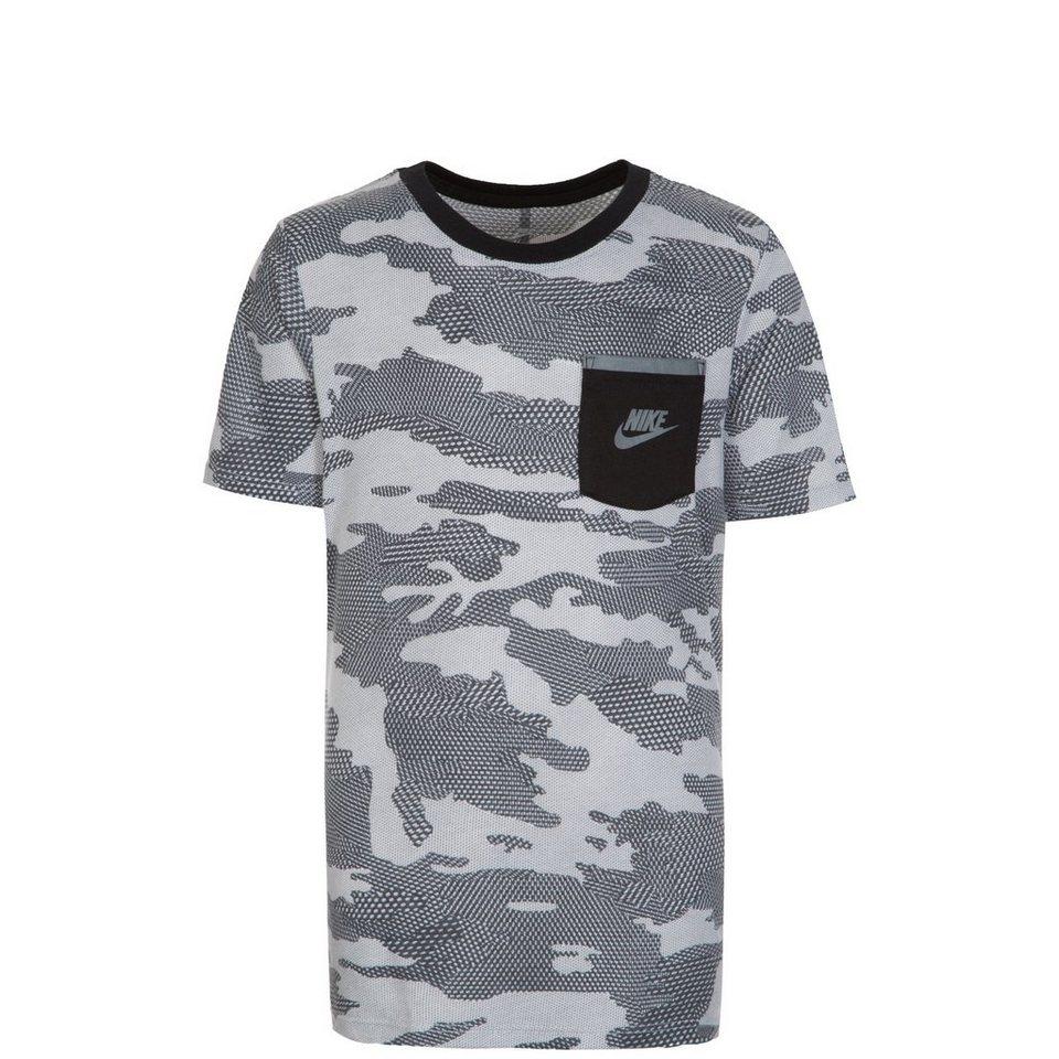 NIKE Camo Trainingsshirt Kinder in grau / schwarz
