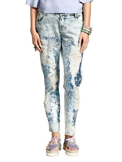 Alba Moda Jeans mit Pailletten im Boyfriend -Style
