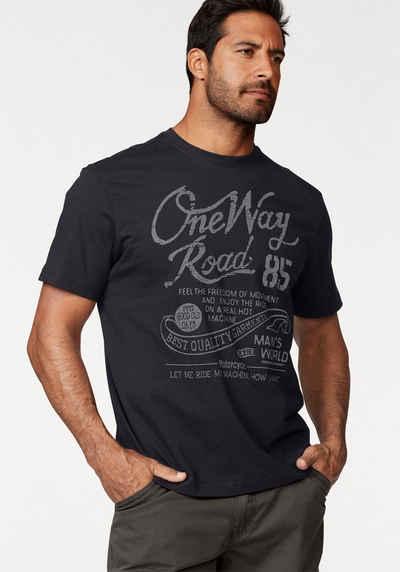 Man's World T-Shirt mit Print in Used-Optik