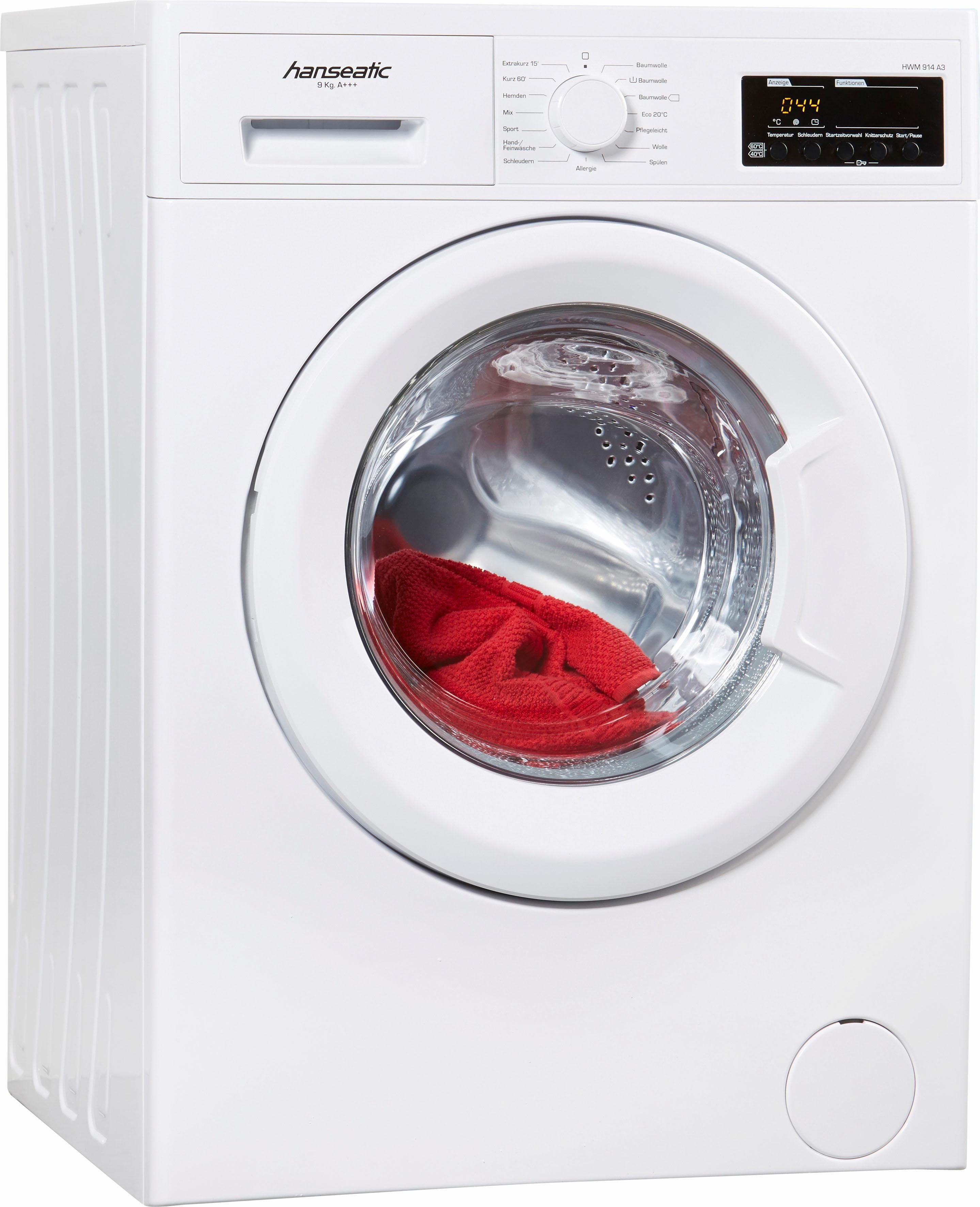 Hanseatic Waschmaschine HWM 914 A3, 9 kg, 1400 U/Min