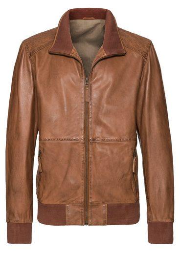 Mainpol Leder-Jacke mit Vintage-Effekt