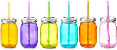 Zeller Present Gläser-Set »Color«, Glas, Kunststoff, Metall, Mit Deckel und Strohhalm, 6-teilig