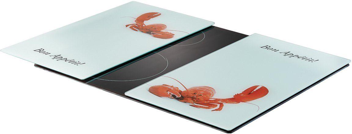 Zeller Present Herdabdeck-/Schneideplatten »Hummer«, weiß, 2-er Set, 30 x 52 cm