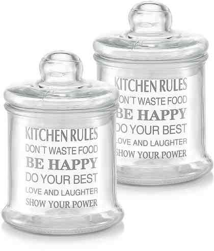 Zeller Present Vorratsglas, 920 ml, »Kitchen Rules« (2er Set)