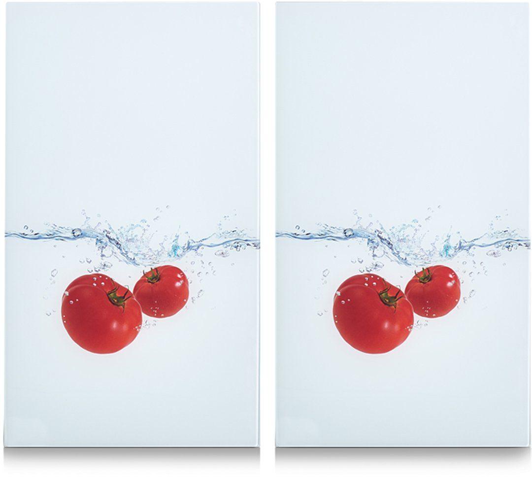 Zeller Present Herdabdeck-/Schneideplatten »Tomato Splash«, 2-er Set, 30 x 52 cm