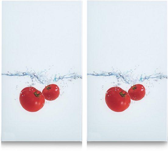 Zeller Present Schneide- und Abdeckplatte »Tomato Splash«, ESG-Sicherheitsglas, (Set, 2 tlg), 6 rutschfesten Elastikfüßen