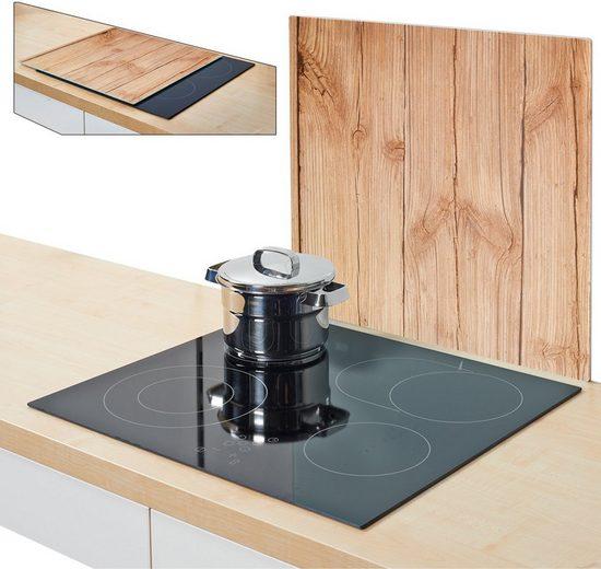 Zeller Present Herdblende-/Abdeckplatte »Wood«, Glas, (1 tlg), Silikonfüßen