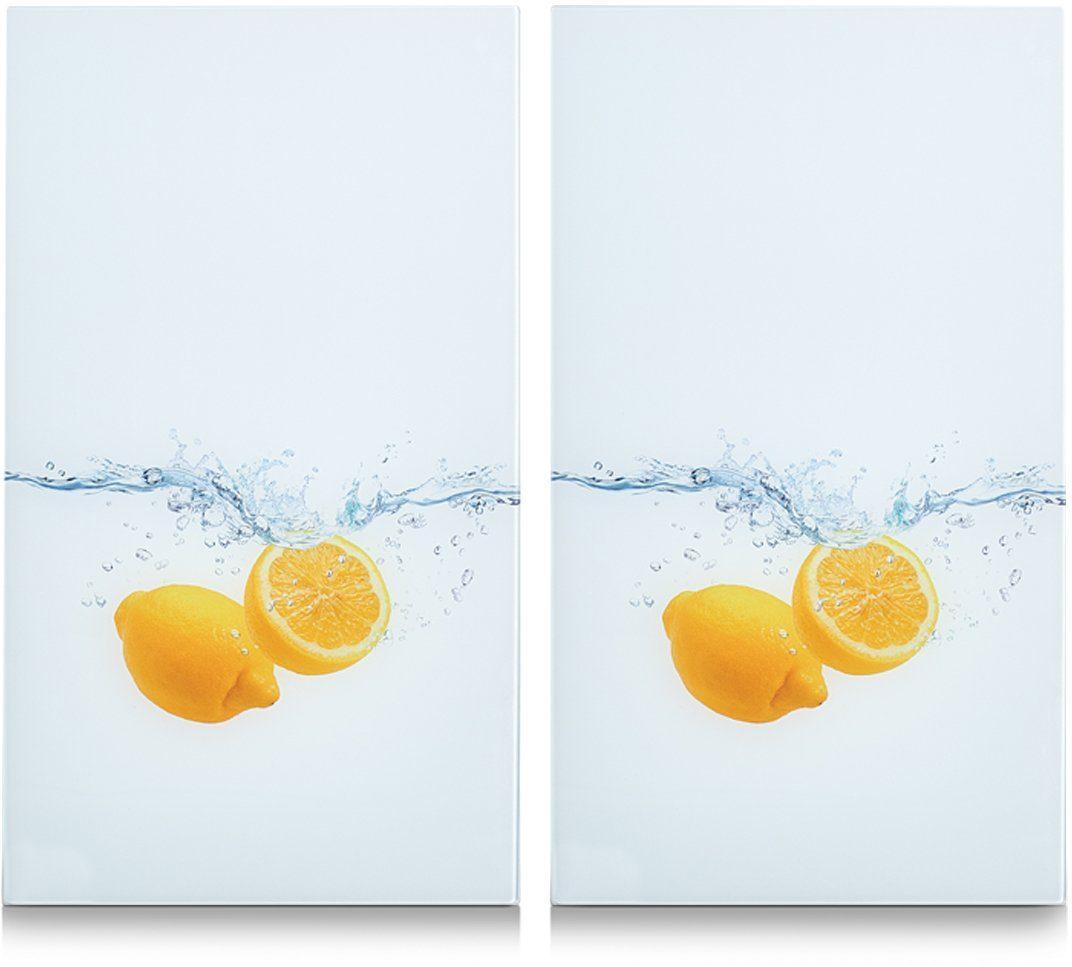 Herdabdeck-/Schneideplatten »Lemon Splash«, 2-er Set, 30 x 52 cm