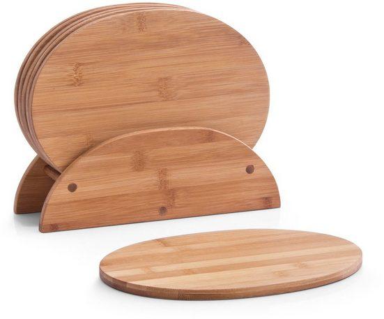 Zeller Present Frühstücksbrett »Bamboo«, Bambus, (Set, 7-St), oval