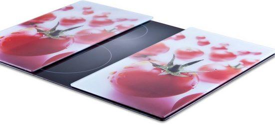 Zeller Present Schneide- und Abdeckplatte »Tomate«, ESG-Sicherheitsglas, (Set, 2 tlg), 6 rutschfesten Elastikfüßen pro Platte