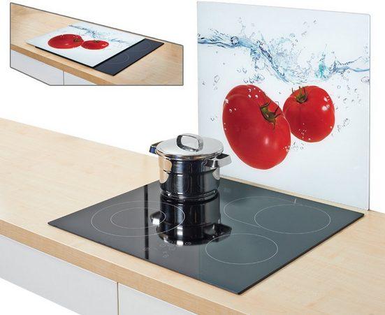 Zeller Present Herdblende-/Abdeckplatte »Tomato Splash«, Glas, (1 tlg), Silikonfüßen