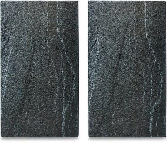 Zeller Present Schneide- und Abdeckplatte »Schiefer«, ESG-Sicherheitsglas, (Set, 2 tlg), 6 rutschfesten Elastikfüßen pro Platte