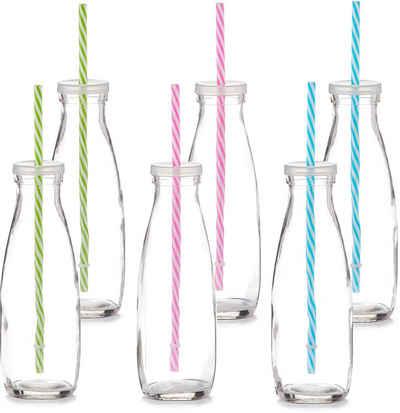 Zeller Present Gläser-Set, Glas, Kunststoff, Mit Deckel und Strohhalm, 475 ml, 6-teilig