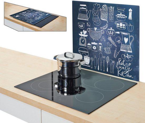 Zeller Present Herdblende-/Abdeckplatte »Lovely Kitchen«, Glas, (1 tlg), Silikonfüßen