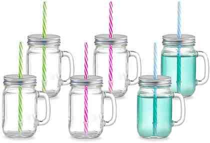 Zeller Present Gläser-Set »Countrystyle« (6-tlg), Mit Henkel, Deckel und Strohhalm