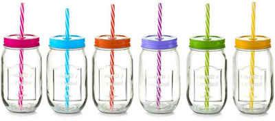 Zeller Present Gläser-Set »Color Lid«, Glas, Kunststoff, Metall, Mit Deckel und Strohhalm, 6-teilig