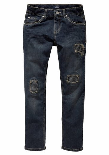 Buffalo Stretch-Jeans regular fit mit schmalem Bein und destroyed Effekten