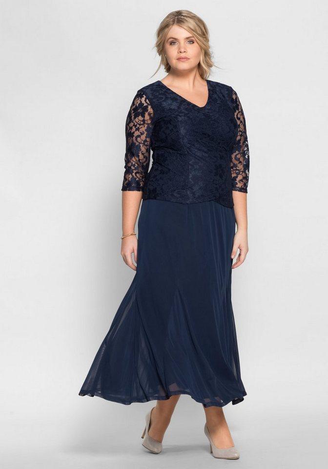Festtagsmode - Sheego Abendkleid mit floraler Spitze › blau  - Onlineshop OTTO