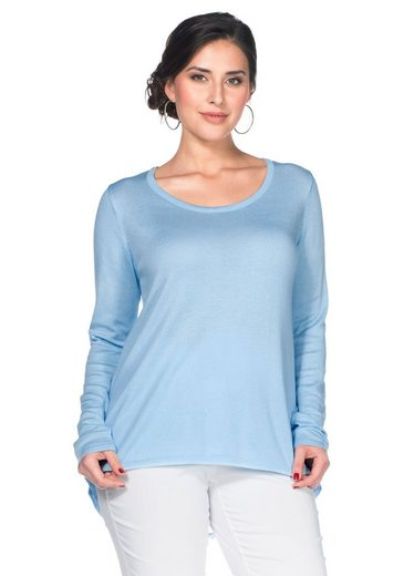 sheego Style Longpullover, Rückenteil mit eleganter Spitze unterlegt