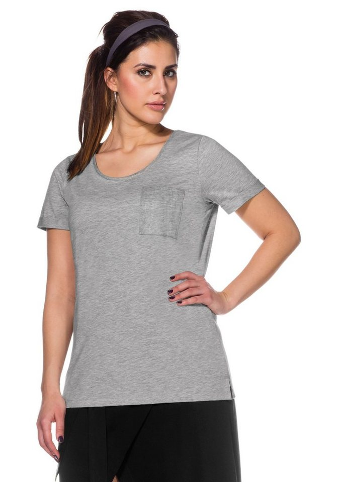 sheegotit t shirt glitzerdruck auf der brusttasche und am ausschnitt online kaufen otto. Black Bedroom Furniture Sets. Home Design Ideas