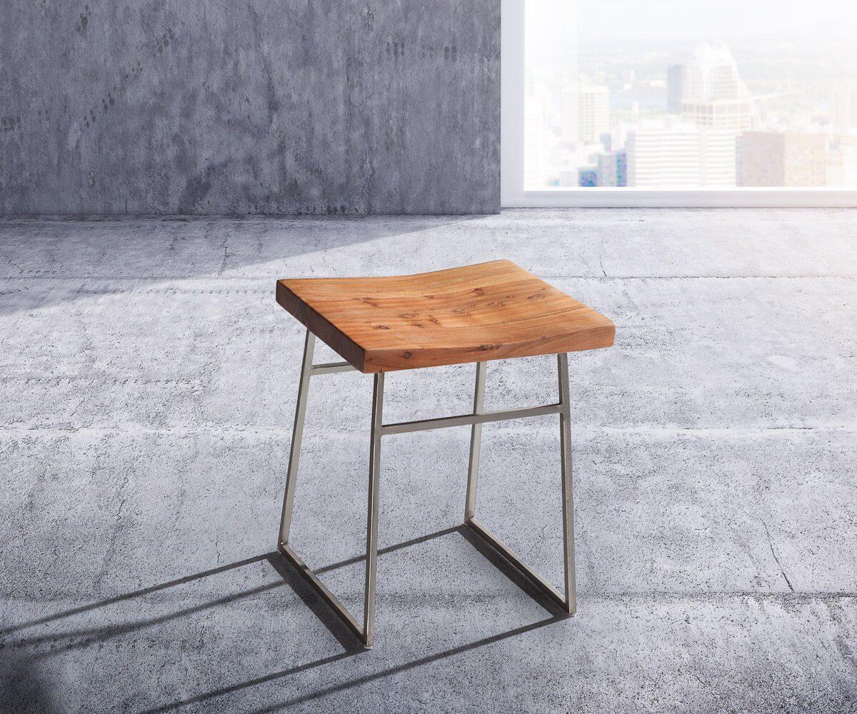 DELIFE Küchenstuhl Blokk Akazie Natur Metallgestell