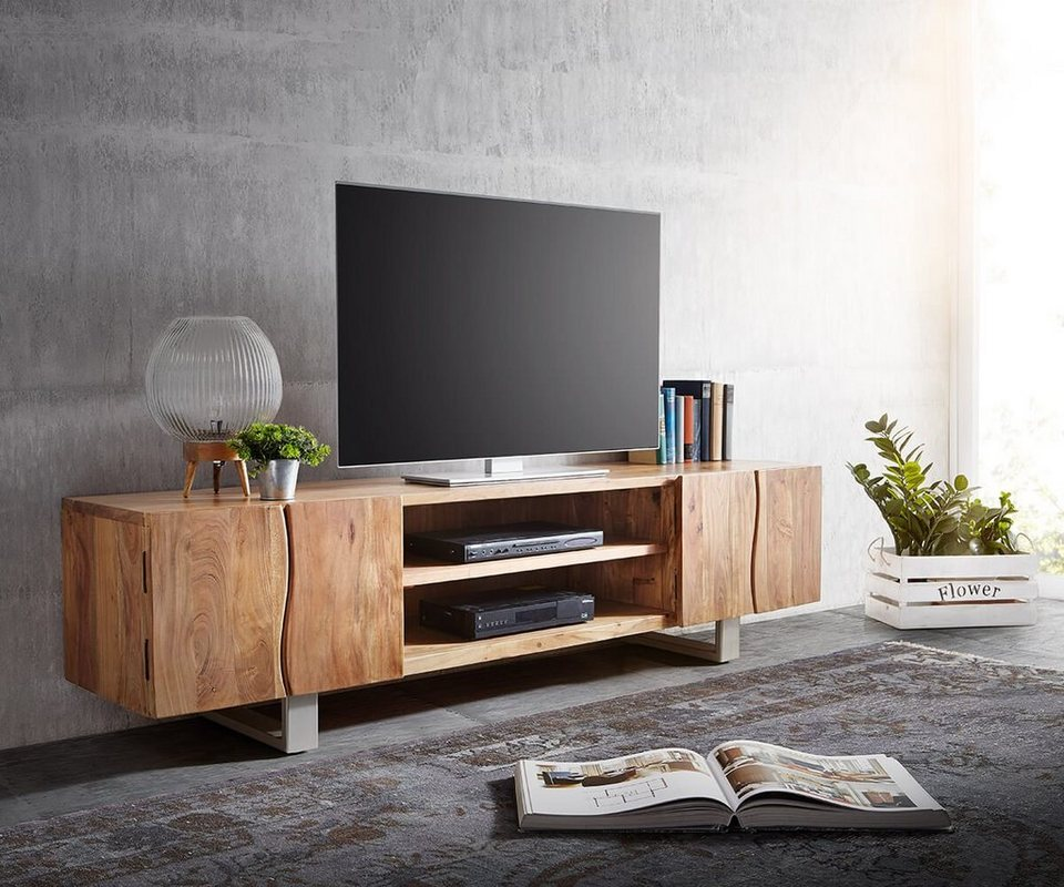 delife fernsehtisch live edge akazie natur 200 cm f cher online kaufen otto. Black Bedroom Furniture Sets. Home Design Ideas