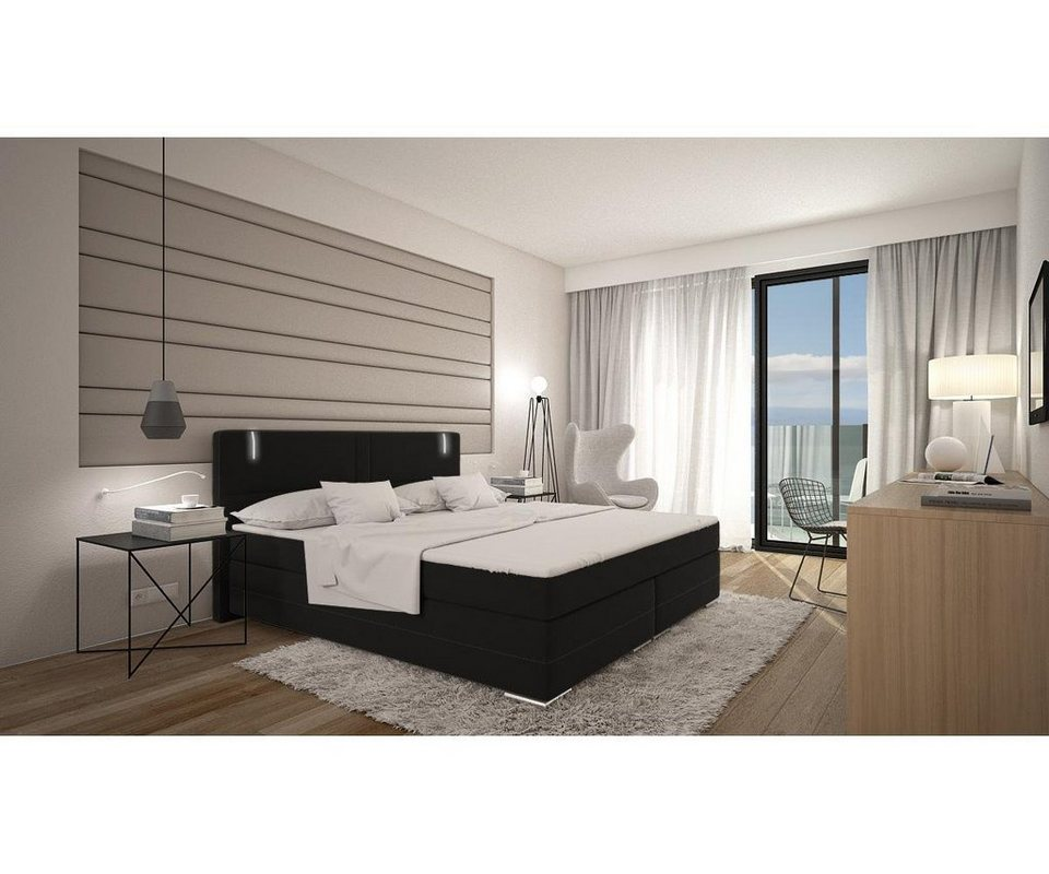delife bett lunetta schwarz 180x200 cm kingsize bett. Black Bedroom Furniture Sets. Home Design Ideas