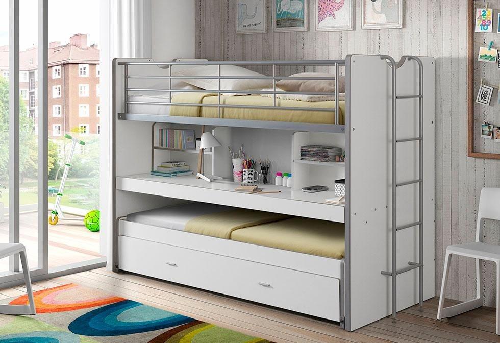 Vipack Hochbett mit MDF Schreibtisch und 3 Schlafgelegenheiten Bonn weiß   05420070221276
