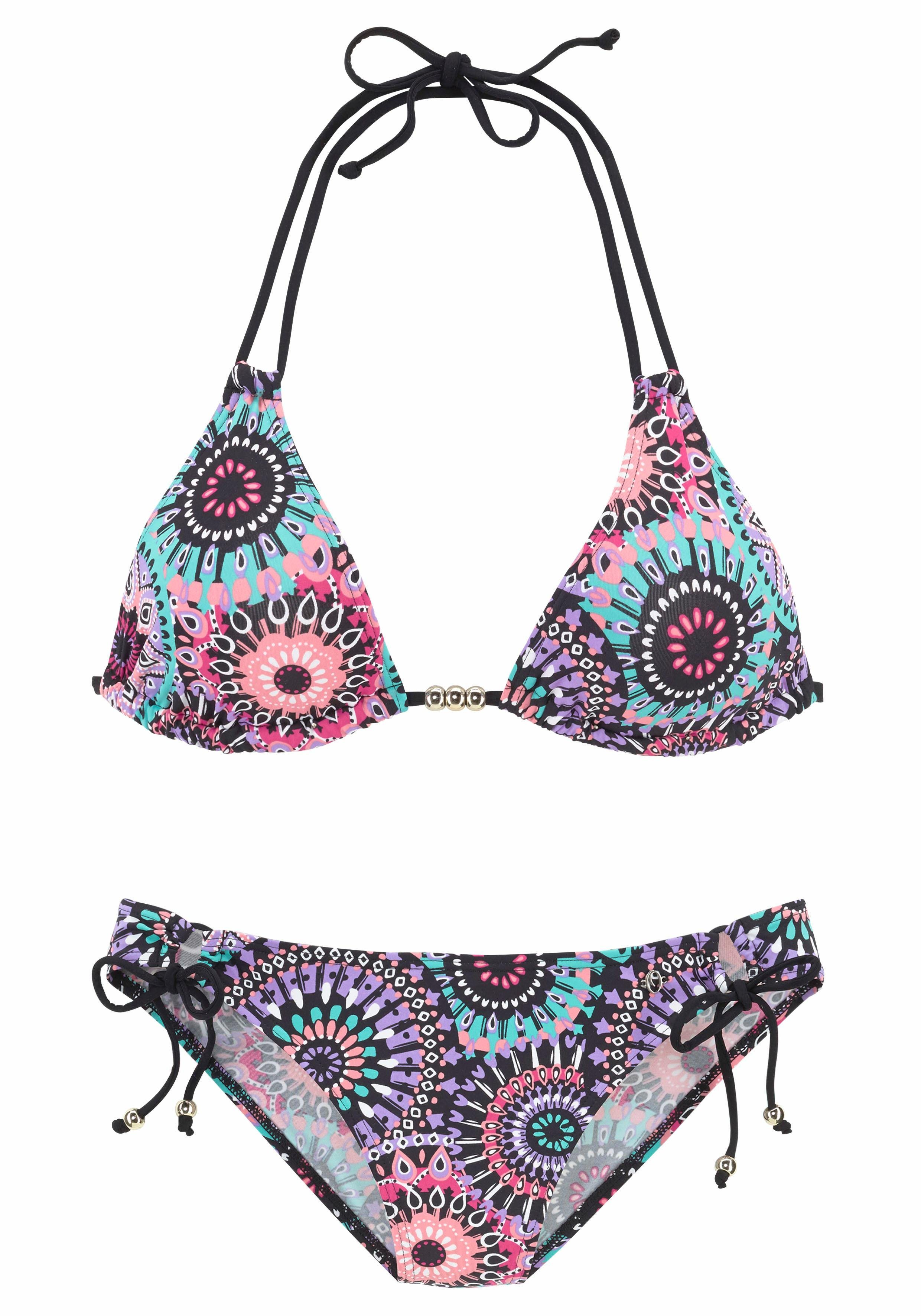 s.Oliver RED LABEL Beachwear Triangel-Bikini mit goldenen Zierperlen