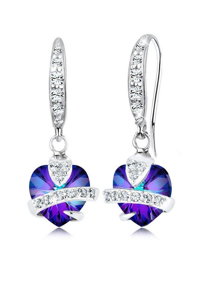 Elli Ohrringe »Herz Love Swarovski® Kristalle 925 Sterling Silber« in Violett