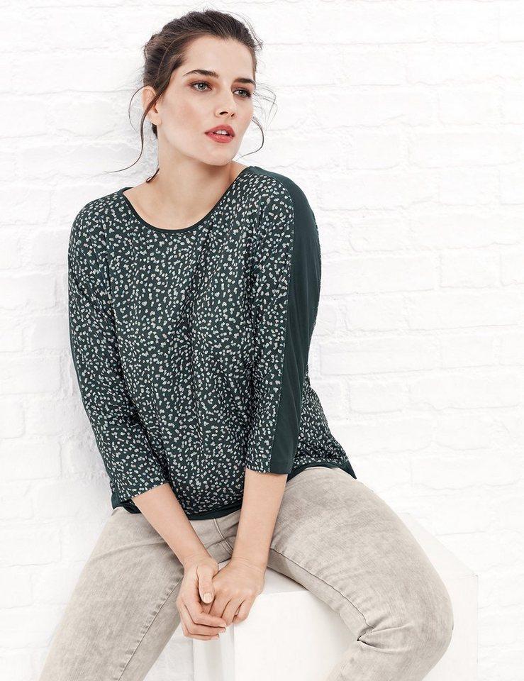 Samoon T-Shirt 3/4 Arm Rundhals »Slinky-Shirt mit Fledermausärmeln« in Eisiges Grün Druck