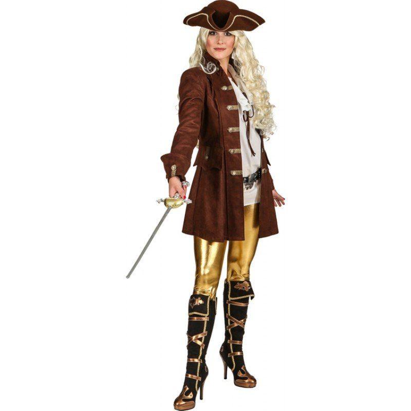 Piratenmantel braun Damenkostüm Deluxe