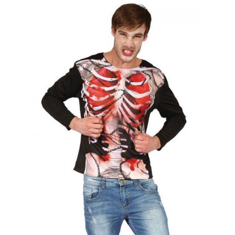 Horror Skelett 3D Shirt für Herren - M/L