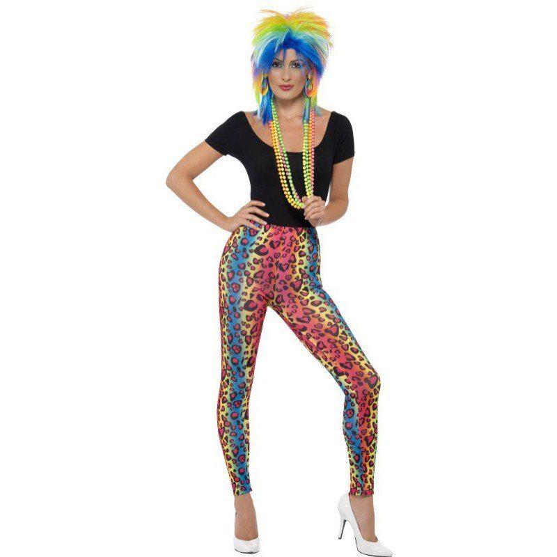 80er Neon-Leopard Party Leggings (Größe)