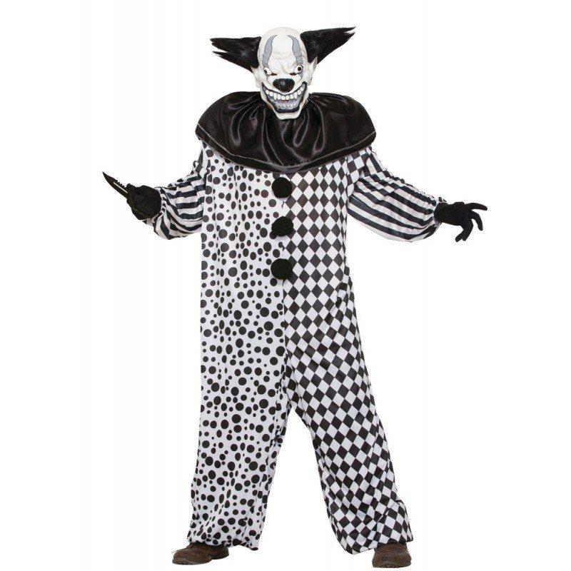 Evil Clown Black and White Herrenkostuem - M/L