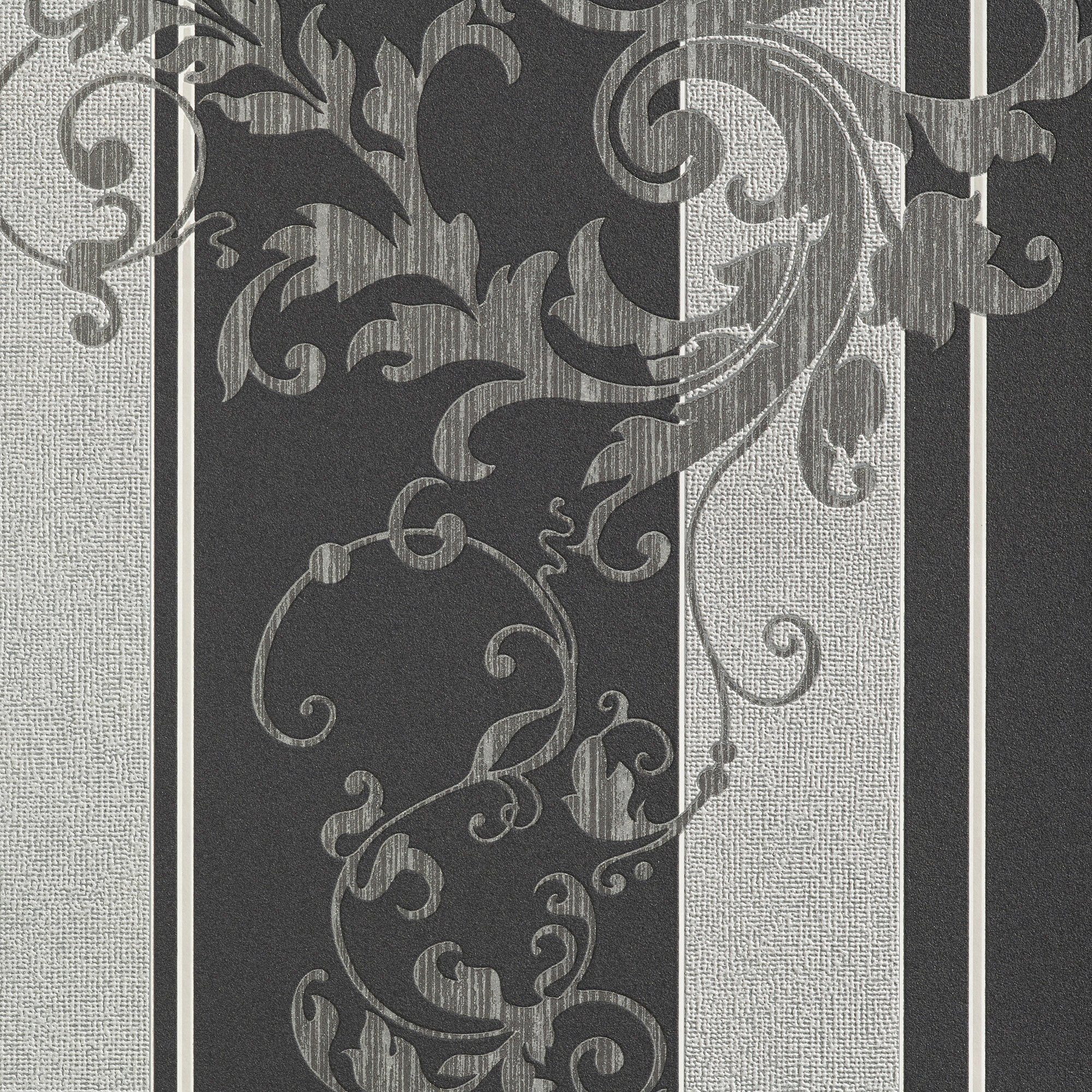 BODENMEISTER Vliestapete »Floral, grau«