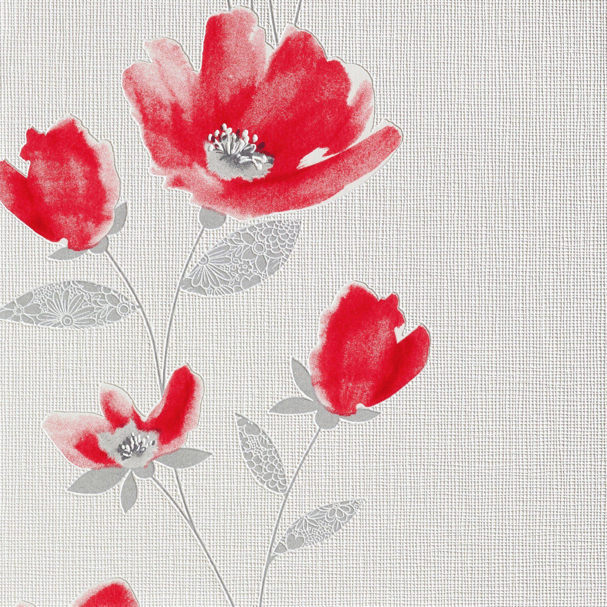 BODENMEISTER Vliestapete »Floral, rot/weiß«