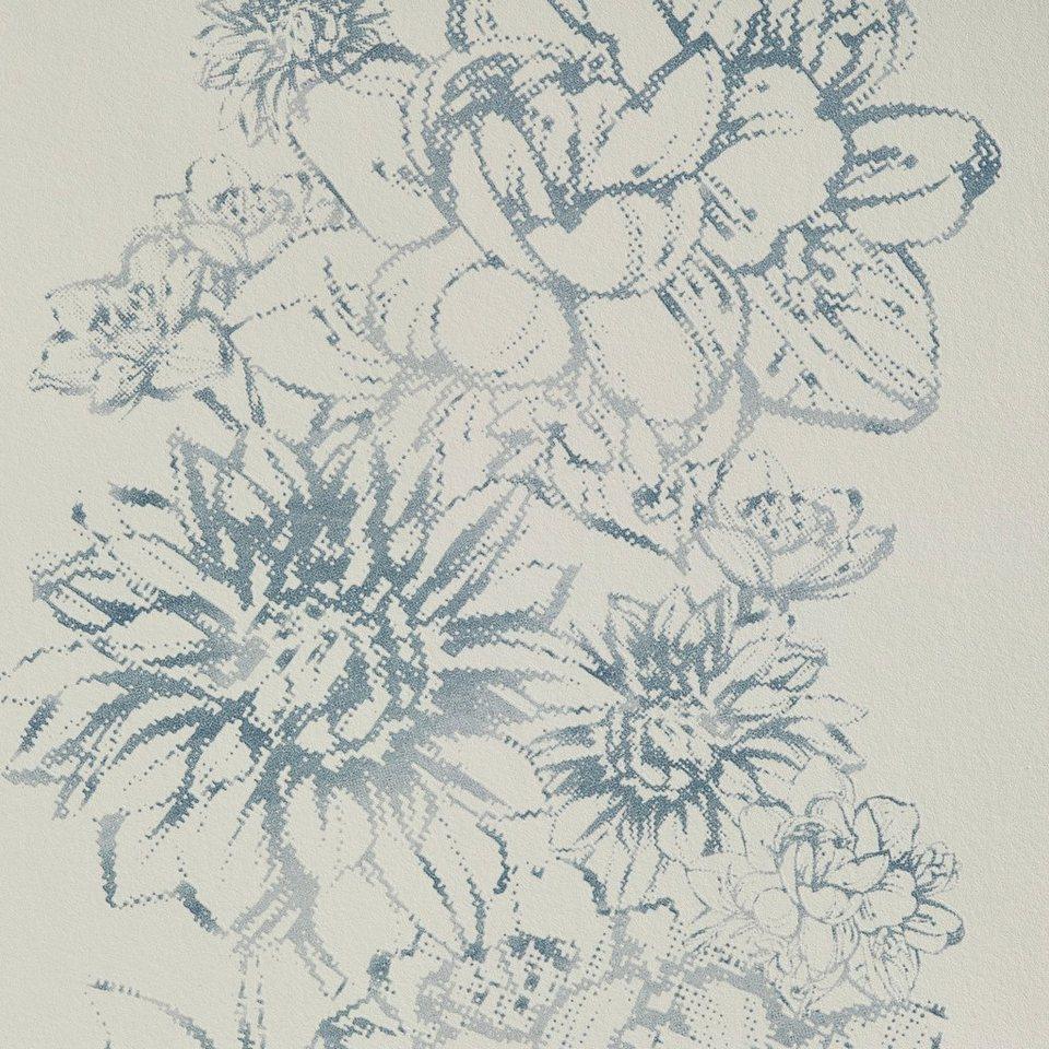 bodenmeister vliestapete floral blau kaufen otto. Black Bedroom Furniture Sets. Home Design Ideas
