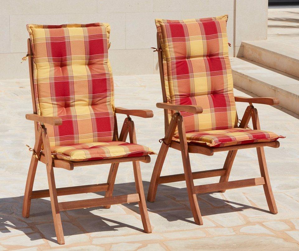 Merxx gartenstuhl maracaibo 2er set eukalyptus verstellbar braun inkl auflage online - Merxx gartenstuhl ...