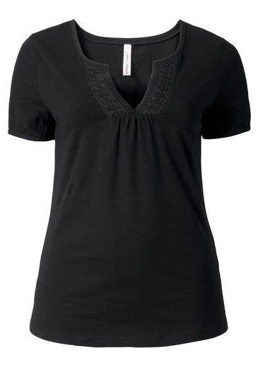 sheego Casual T-Shirt, mit Häkelspitzenbesatz